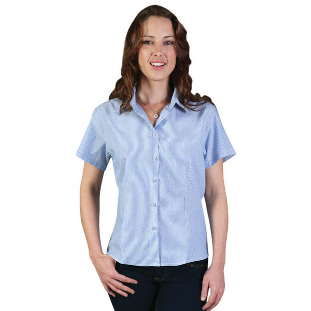 Picture of Ladies Vertistripe Woven Shirt Short Sleeve
